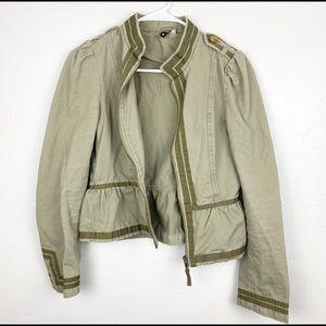 H&M   Olive Green Peplum Military Jacket